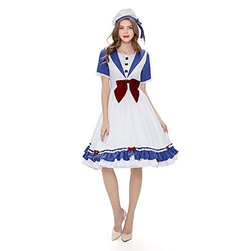 Xwenx Vestido de cosplay para mujer, disfraz de Halloween, disfraz de cosplay, disfraz de anime, juego de disfraces de cosplay, Water City Navigator, L