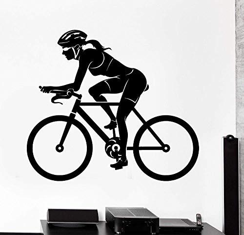 Adesivi Murali, Ciclismo Donna Ciclismo Esercizio Adesivi Murali Camera Ragazza Decorazione Murale Dormitorio Interno Appartamento Studio Club Murale 55X65Cm