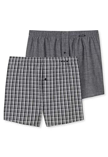 Schiesser Herren Boxershorts 4er Pack - Shorts, Webware, Karo/Streifen, S-2XL (2X 2-Pack) (SChwarz (000), L (Large) - 4-Pack)