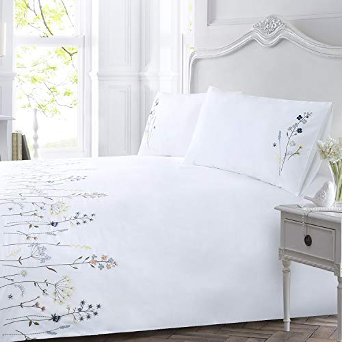 YINFUNG 3PCS Duvet Cover Set Double 200TC Bedding Set Quilt Cover Embroidered Bright Soft 2 Pillow Cases 50x75 Size Double 200 x 200 White
