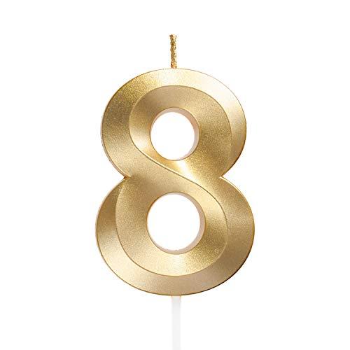 URAQTGeburtstagZahlKerzen,GoldGlitzerGeburtstagskerzen,DekorativeGeburtstagstorte,Hochzeitsparty,AbschlussfeierUsw 8