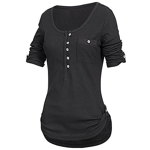 iHENGH Damen Sommer Top Bluse Bequem Lässig Mode T-Shirt Blusen Frauen festes langärmliges Knopf Blusen Pullover Oberseiten Hemd mit Taschen(Schwarz, M)