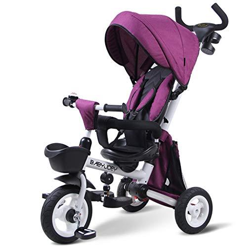 Kinderfahrrad, 3-Rad Klappbaby 1-3-5 Jahre alt Trolley Selbstfahrender Kinderwagen Wendbare tragbare Markise Regen (Color : Purple)