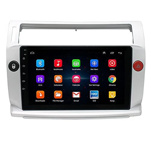 Android 9.1 8 Core 2.5D Pantalla Estéreo para automóvil Navegación por satélite Radio DVD Control del volante Reproductor de video Navegación GPS multimedia para Citroen C Quatre 20(Color:WiFi 1G+16G)