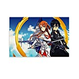 XUWEIX Sword Art Online Pop Anime Video Game Poster Asuna Kirito Lover Canvas Poster y Wall Art Impresión Moderna Familiar Dormitorio Decoración Posters 30 x 45 cm