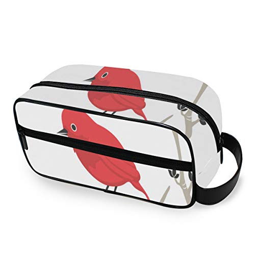 Birds with Bullfinch Red Berry Traveling Bags with Zippers Travel Bag Carry-on Travel Accessories Toiletries Bag for Men and Women Travel Bags for Toiletries Accessories