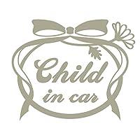 imoninn CHILD in car ステッカー 【シンプル版】 No.29 お花リボン (グレー色)