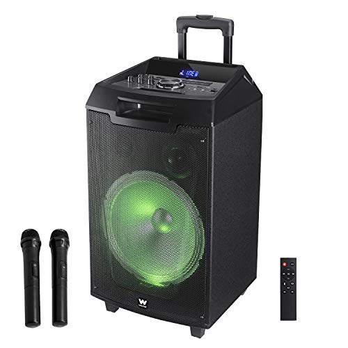 Woxter Rock'n'Roller XL - Altavoz trolley con función karaoke, 100W, Display, BLUETOOTH, Lector SD/USB, AUX, Prioridad Mic, Mando a Distancia, Batería de alta capacidad, X2 micrófonos inalámbricos