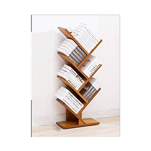 TEAYASON Estantería con forma de árbol de suelo a techo, estantería pequeña de bambú, 2 – 6 estanterías, para sala de estar, dormitorio, oficina (color: ángulo recto 2 capas), ángulo recto 6
