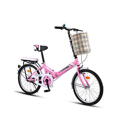 TopBlïng Marco De Aluminio Bike Conmutar Bicicleta De Ciudad con Una Canasta,Mujeres Folding Bike Mini Velocidad única Estudiantes Bicicleta,Barato 20 Pulgadas Adulto Bicicleta Plegable-Rosa