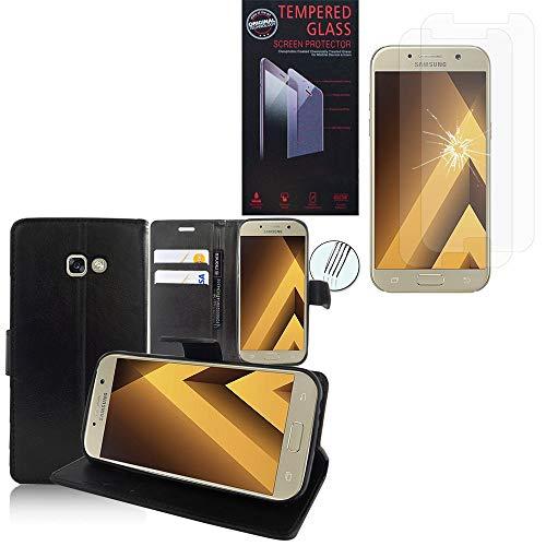ANNART - Funda para Samsung Galaxy A5 (2017) 5.2' A520F, funda tipo libro con tapa y 2 protectores de cristal templado transparente para Samsung Galaxy A5 (2017) 5.2' A520F