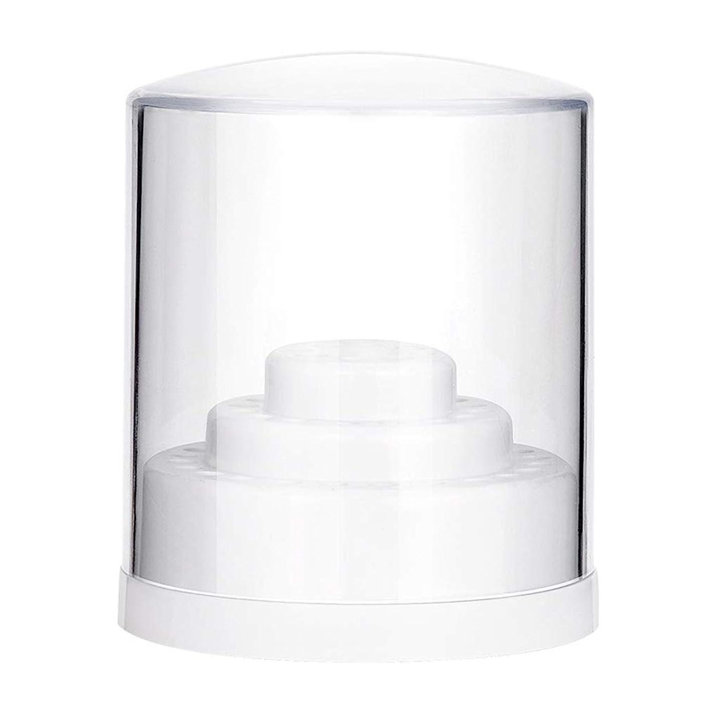 浸食立ち向かう科学的YINKUU ネイル研削ヘッド収納ボックス 48穴 ディスプレイボックス 透明キャップ付き ネイルアートパーツ(ホワイト)