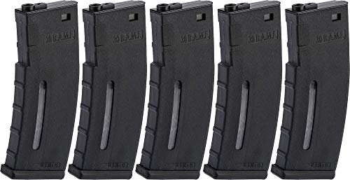 Evike BAMF 30rd Polymer MilSim Magazine for M4 / M16 Series Airsoft AEG Rifles (Color: Black/Pack of 5)