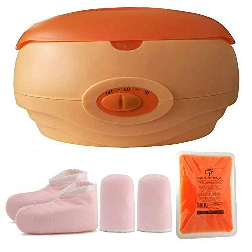 Calentador de parafina baño Cera de parafina Calentar Rápido+una caja parafina +Juego botines aguantes Color aleatorio