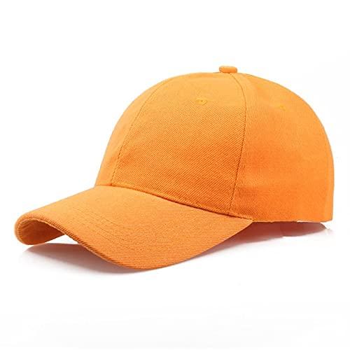 Gorra Negra Gorra de béisbol de Color sólido Gorras Snapback Sombreros Casquette Sombreros Casuales Ajustados Gorras Hip Hop Sombreros de papá para Hombres Mujeres Unisex-Orange