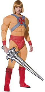 Smiffy's He-Man/Prince Adam Muscle Costume With Jumpsuit - Belt - Cuffs - Bootcovers And Sword, Beige, Medium, 34804M
