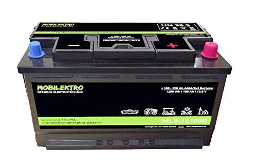 MOBILEKTRO LiFePO4 100Ah 12V 1280Wh Lithium Versorgungsbatterie mit BMS - EQ 160Ah - 200Ah AGM oder GEL Aufbaubatterie für Wohnmobil, Boot, Camping oder Solaranlage, L5 DIN-Größe
