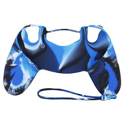 #N/A Silikon rutschfeste Griff Kastenabdeckung + Lanyard Für Sony Game Controller - Blau Camo