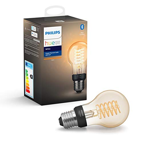 Philips Hue White Filament E27 LED Lampe, dimmbar, warmweißes Licht, steuerbar via App, kompatibel mit Amazon Alexa (Echo, Echo Dot)