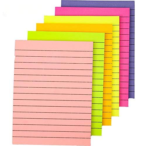Blocchetti di note adesive colorate a righe, rimovibili, per ufficio, casa, scuola, 10 cm x 15 cm, 50 fogli, confezione da 6 pezzi