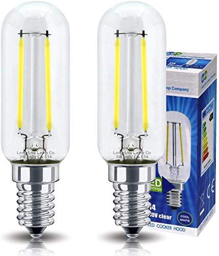 Iyom Paquete de 2 Bombillas LED para Campana extractora 3w = 40w Brillo Ahorro de energía SES E14 / E16 Tornillo pequeño