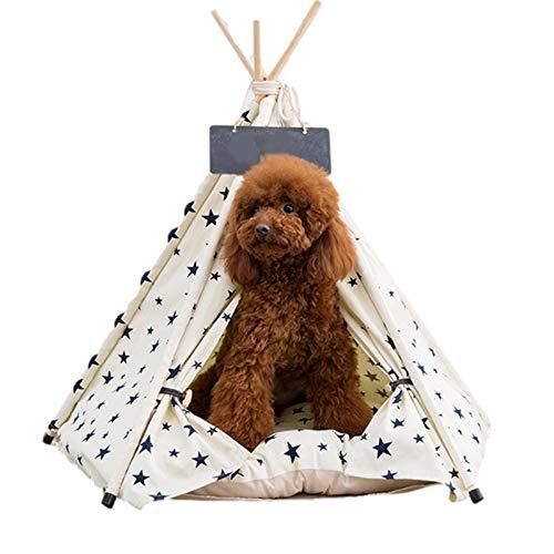 Tienda de campaña portátil para mascotas para perros y gatos, de algodón y lino, con cojín, accesorio para mascotas, montaje rápido, desmontable, para viajes y tipi