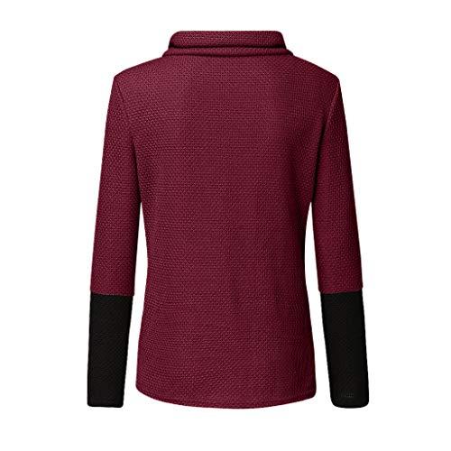 Vimoli Blusen Damen Strickjacke Geripptes Hemd mit Rollkragen Asymmetrischer Strick Pullover Sweater Tops mit Knopfleiste(E Wein,2XL)