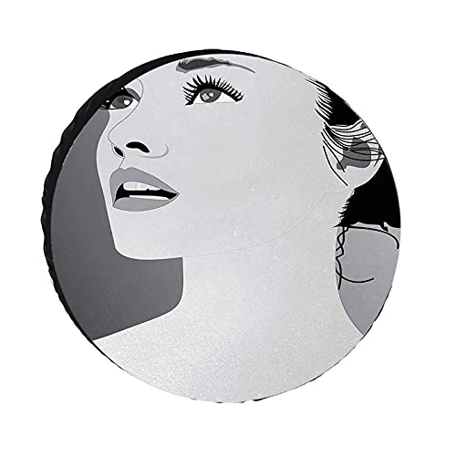 Girls Spare Tire Cover, Young Gentle Woman with Make Up Looking in Digital Stylized She Artsy Graphic Print Waterproof Dust-Proof Tire Protectors for Jeep Trailer RV SUV and Many Vehicle, Black Grey