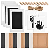 Baby Inkless Handprint & Footprint Pet Paw Print Kit   4 Ink Pads, 8 Imprint Cards, 10 Picture Frame, 10 Wooden Clips and Jute Rope   Ideal for Family Keepsake Newborn Registry Baby Shower Present