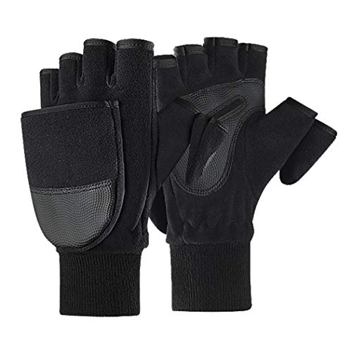 JIAHG Herren Handschuhe Winter Warm Halbfinger Fäustlinge Doppelfunktione Winterhandschuhe Laufhandschuhe mit Flip Top Touchscreen Handschuhe zum Angeln, Fotografieren, Radfahren