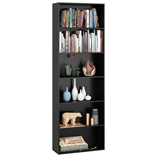 Librería Estantería 6 Cubos Estantería para Libros Estanteía Madera de Pared Estante de Exhibición Decorativo para Salón Oficina Estudio (Negro) 🔥