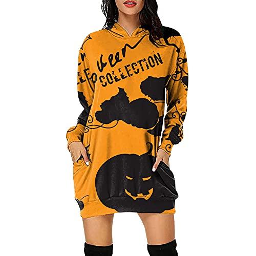Wave166 Disfraz de Halloween para mujer, sudadera con capucha y falda con cuello redondo, camiseta de manga larga, sudadera para el tiempo libre, ropa deportiva, 4-negro., XL