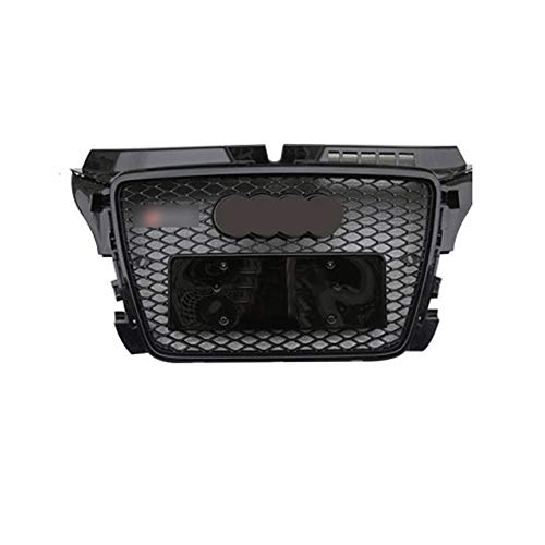 XKCET Front Grille, Front Sport Hex Mesh Honeycomb Hood Grill Gloss Black Euro License Plate Holder for RS3 Style for Audi A3 S3 8P 2008-2012,BLACK