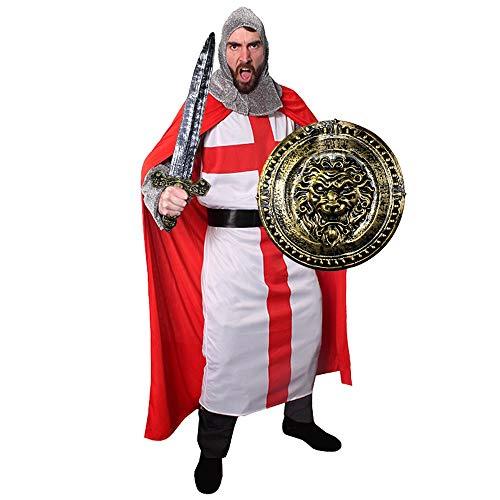 Disfraz de caballero de crucero medieval, disfraz de Tnic de San George, gorro rojo, capucha de cadena y escudo de len a juego  Tamao: XL