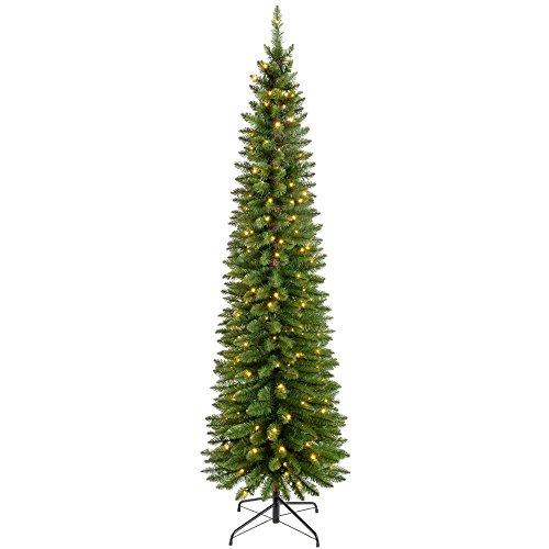 WeRChristmas Pre-Lit Pencil Christmas Tree with 180 LED Lights, 6.5 feet/1.95 m - 25 x 25 x 213 cm, Green