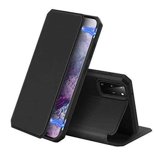 DUX DUCIS Hülle für Samsung Galaxy S20 Plus, Premium Leder Magnetic Closure Flip Schutzhülle handyhülle für Samsung Galaxy S20 Plus Tasche (Schwarz)