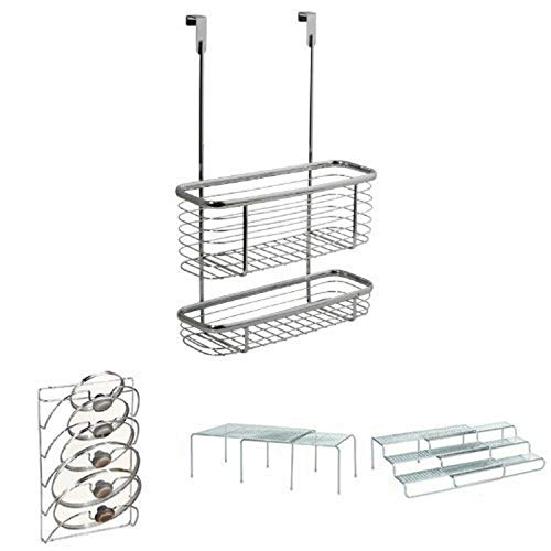 InterDesign 4-Piece Pantry Storage Set: Axis Over the Cabinet Wire Basket, Classico Lid Rack, Expandable, Stackable Shelves, Expandable Spice Rack – Chrome/Silver