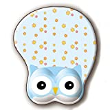 Owl Animal 3D Mouse Pad Soft Gel Mouse Pad with Wrist Support Ergonomic Mouse Mat for PC Mac Girl Gift (Blue)