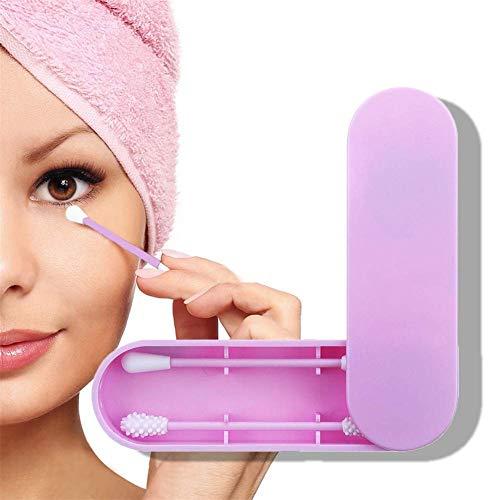 Couleur : Black+Purple Paquet de 2 r/éutilisable coton-tige /à double t/ête en silicone lavable en coton Buds nettoyage cosm/étiques Coton Eye//Ear s/écurit/é Eco Friendly Beauty Tool Set