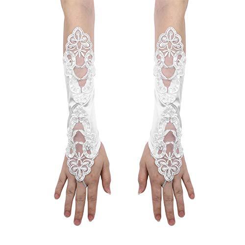 IBLUELOVER Spitzenhandschuhe Netzhandschuhe Spitze Handschuhe Ellenbogen Lang Fingerlos Handschuhe Sommer Sonnenschutz Handchuhe Blumen Mädchenhandschuhe für Oper Hochzeit Party Karneval Tanzen