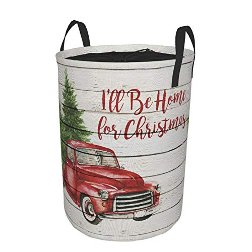 Collapsible Large Clothes Hamper,Merry Christmas Colorful Christmas Balls With Pine Fir Tree Red Retro Truck Car With Snowflake Xmas Tree,Storage Bin Laundry Basket with Drawstring,16.5' x 21.6'