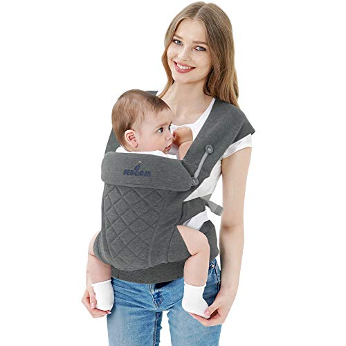 JERORAY-Baby-Carrier,All Carry Position, All Seasons,Dual Protected Waistband and Zipper Opening,Softness Breathable 3D Jersey,for Newborns 8-25 Pounds,Heather Grey