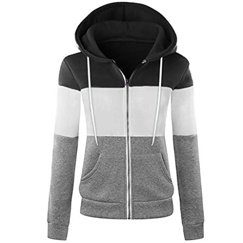 ESAILQ Mode Damen Hoodie Sweatshirt mit Kapuze Mantel Zipper Jacke(XXL,Grün)