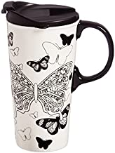 Butterfly Kisses 17 oz. Ceramic Travel Cup