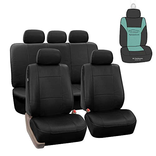 FH Group PU002115 Premium PU Leather Seat Covers (Black) Full Set with Gift – Universal Fit for Cars Trucks and SUVs