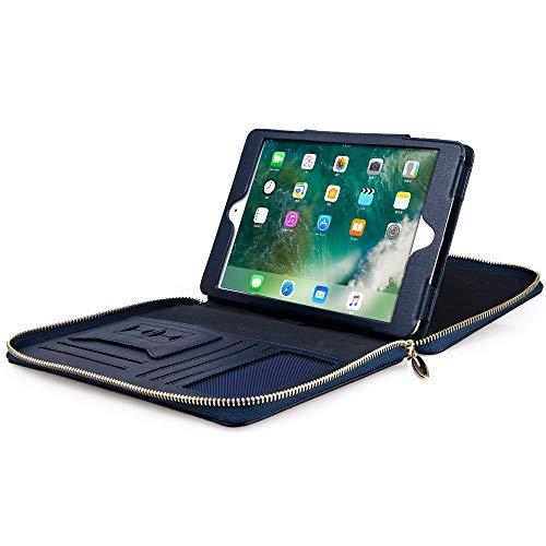 Handgemaakte lederen portefeuillemap met ritssluiting voor iPad Mini 1/2/3 beschermhoes A4 formaat portefeuille padfolio tas, zakelijke organisator, blauw