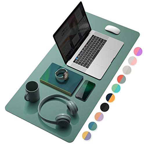 """YSAGi Multifunctional Office Desk Pad, Ultra Thin Waterproof PU Leather Mouse Pad, Dual Use Desk Writing Mat for Office/Home (31.5"""" x 15.7"""", Pistachio Green + Green Blue)"""