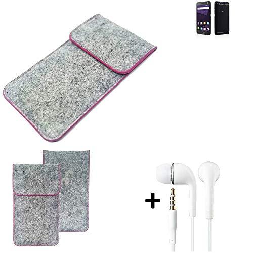 K-S-Trade Filz Schutz Hülle Für ZTE Blade V8 64 GB Schutzhülle Filztasche Pouch Tasche Hülle Sleeve Handyhülle Filzhülle Hellgrau Pinker Rand + Kopfhörer