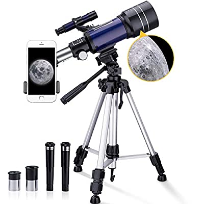 BNISE Telescope for Kids, 70mm Aperture 300mm Astronomical Refractor Telescope, 15X-150X Kids Telescope for Astronomy Beginners, Portable Telescope with 43 inch Aluminum Tripod and Phone Adapter