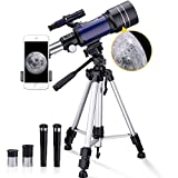 BNISE Telescope for Kids Adults, 70mm Aperture 300mm Astronomical Refractor Telescope, 15X-150X Kids